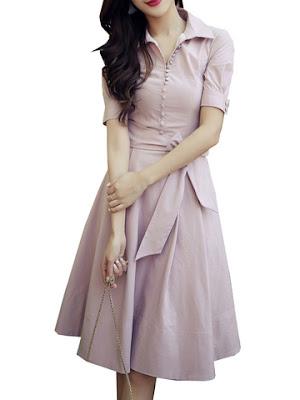 model baju kerja warna pink
