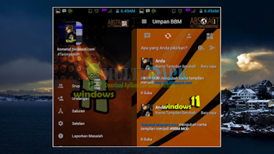 Download BBM Modifikasi Windows 11 Orange Magnetic Versi 3.0.1.25 Apk Android Terbaru