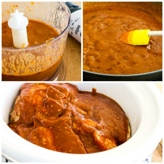 Low-Carb Slow Cooker (or Pressure Cooker) Pork Roast with Spicy Peanut Sauce found on KalynsKitchen.com