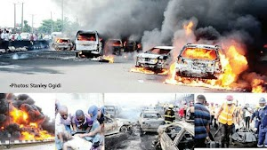 OH NO!! Oil Tanker Explodes  in Lagos, Many Death Casualties & 54 vehicles burnt (Photos)