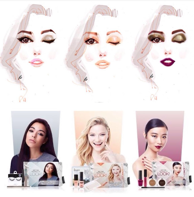 The FaceShop Beauty face illustration, different makeup looks for all girls, eyeshadow and lipsticks kit