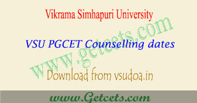 VSU PGCET 2018 Counselling dates,vsupgcet counselling 2018
