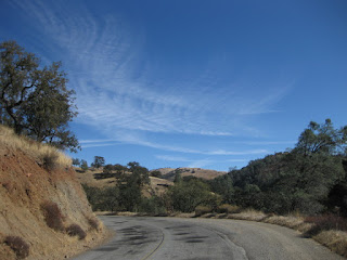 Horsetail cirrus clouds above Panoche Road, San Benito County, California