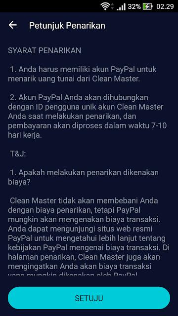 Payout Dollar di Aplikasi Clean Master