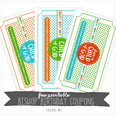 Bishop Birthday Coupons - free printable - ldslane.net Fun way for the LDS primary children to get to know the Bishop in their ward better with a handshake and simple treat!