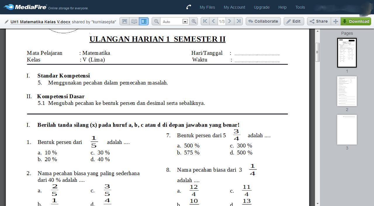 Download Soal Matematika Kelas 5 Semester 2 Sekolahdasar Net