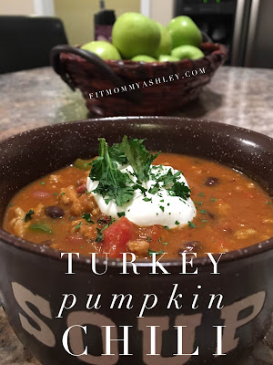 turkey, pumpkin, chili, clean, healthy, fall, autumn, recipes, halloween, easy, simple, dinner, one dish, ground, delicious, ashley roberts,