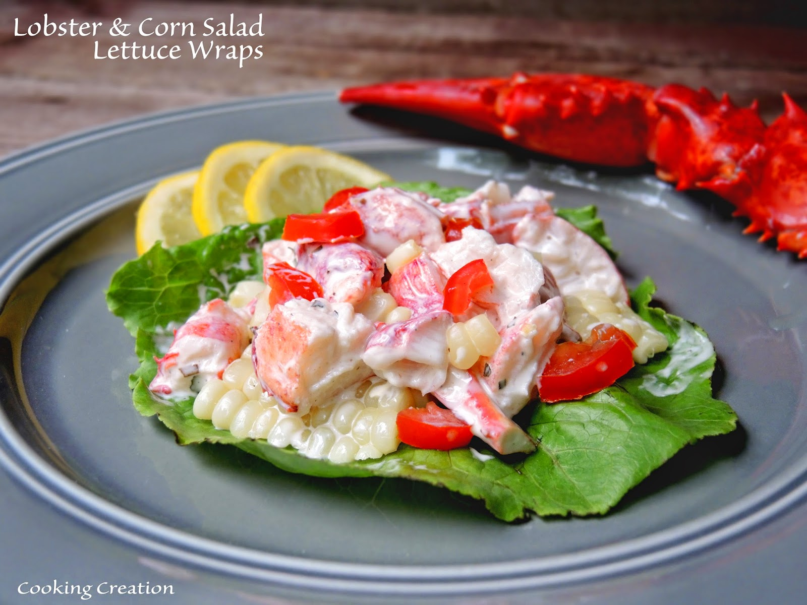 Cooking Creation: Lobster & Corn Salad Lettuce Wraps with ...