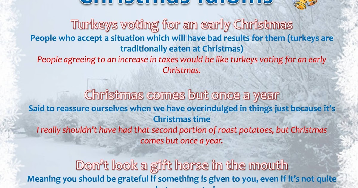 talk in english and have fun christmas idioms - Christmas Idioms