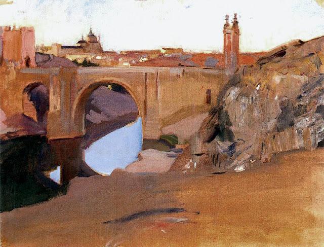 Atardecer en el Puente de la alcantara (Toledo), Joaquín Sorolla y  Bastida, Joaquín Sorolla, Paisajes de Joaquín Sorolla, Impresionismo Valenciano, Joaquín Sorolla Bastida