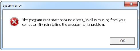 Télécharger D3dx9_35.dll Fichier Gratuit Installer