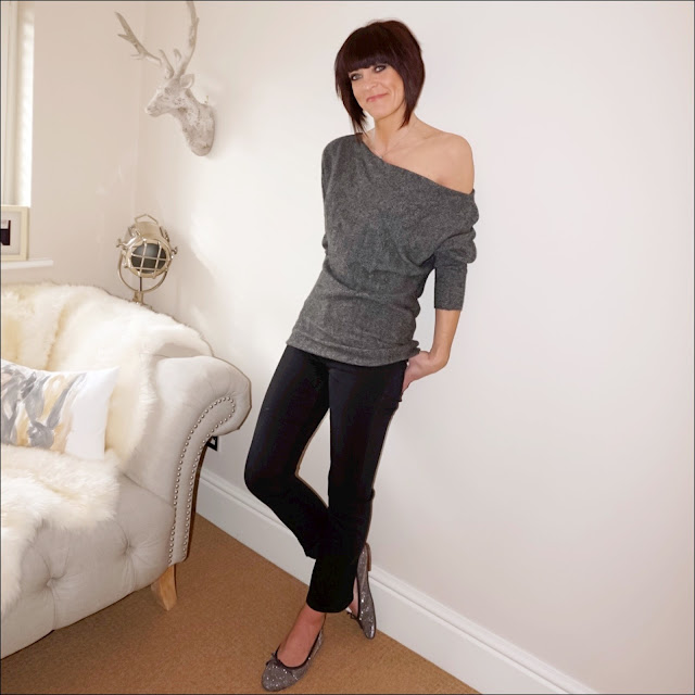 My Midlife Fashion, zara off the shoulder cashmere jumper, french connection rebound cropped kick flare jeans, sparkly glitter ballet pumps