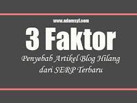 3 Faktor Penyebab Artikel Blog Hilang dari SERP Terbaru