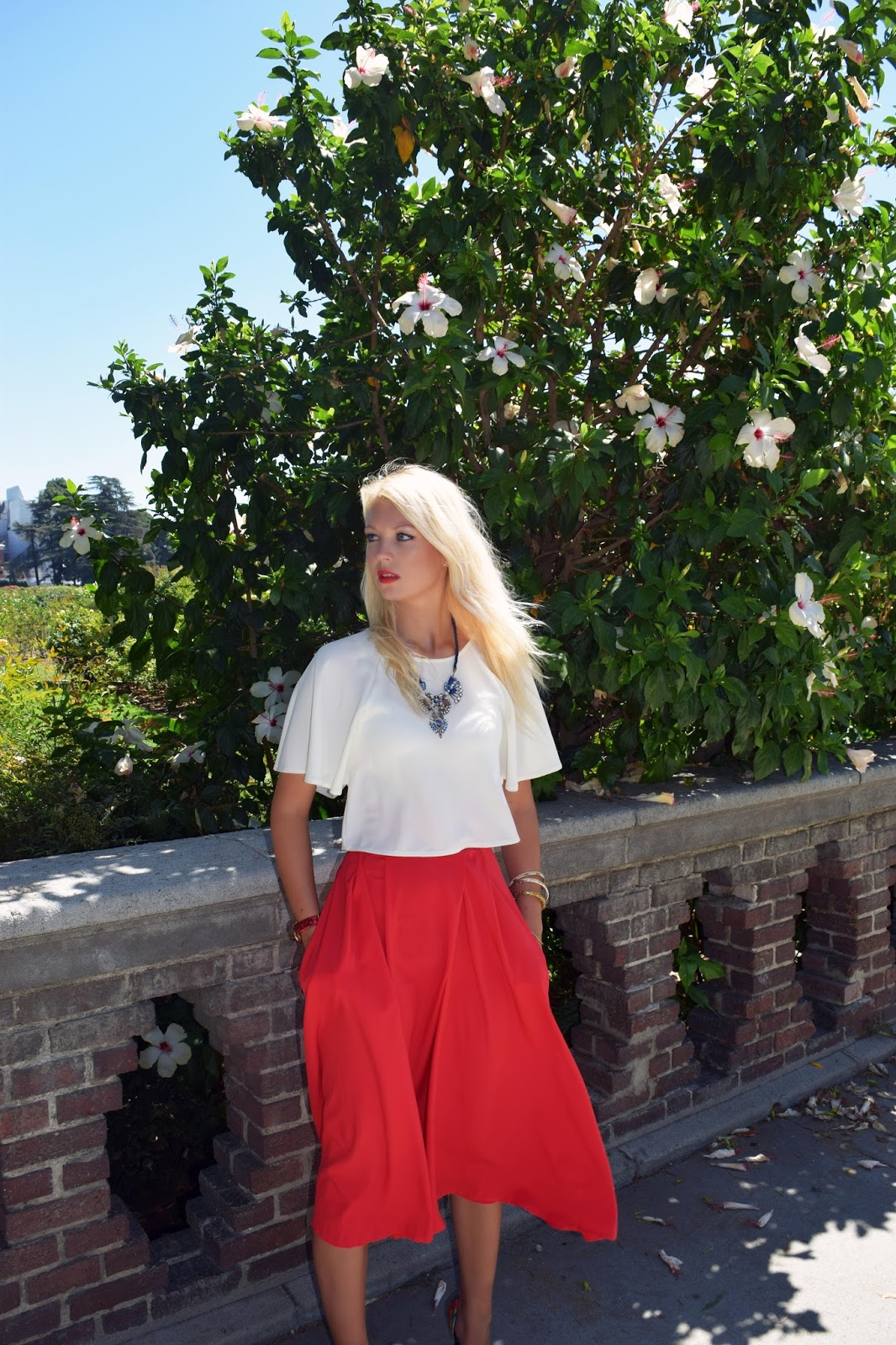 Midi skirt, red skirt, choies, crop top, flower heels
