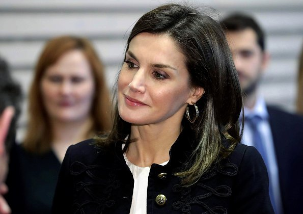 Queen Letizia wore ZARA Military Jacket, Queen Letizia wore Hugo Boss ankle boots and carried Hugo Boss Fanila clutch