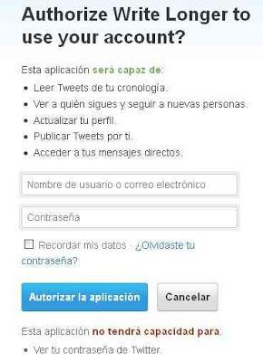 autorizar aplicacion twitter