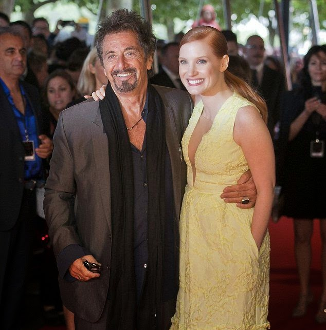 3752738655 Retro Bikini: Jessica Chastain dresses down in a White Long Dress alongside  Al Pacino in London premiere