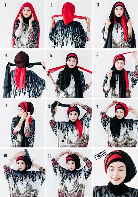 Tutorial Hijab Turban Segi Empat Modern Gaya #22 Dua Warna Dua Kerudung Tumpuk