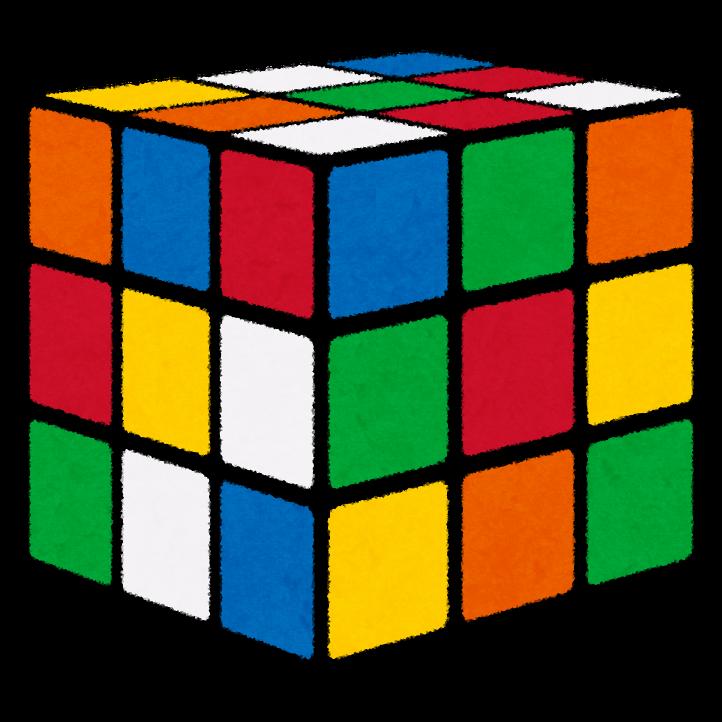 ルービックキューブのイラストバラバラ かわいいフリー素材集