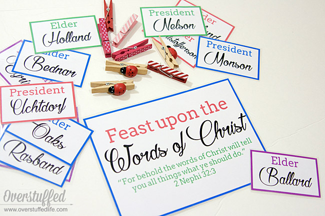 Use these printables to keep your kids interested in who is speaking during General Conference. Food motivates!