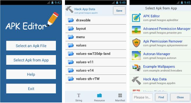 Screenshots of APK Editor Pro 01