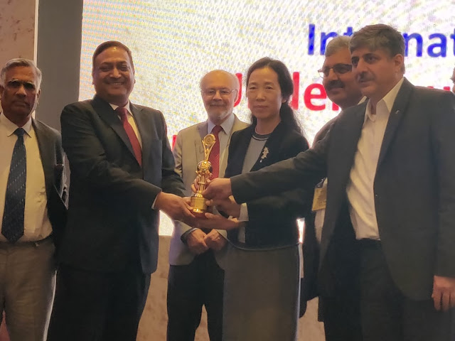 "Shri Ratish Kumar, Director (Projects), NHPC receiving ""TAI Tunneling Project of the year award"" for execution of tunnels in Kishanganga HEP in J & K  conferred by Tunneling Association of India at Mumbai on 27.02.2019."