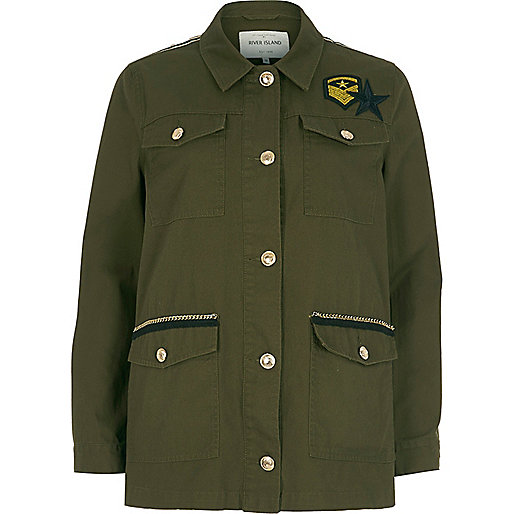 River Island khaki green badge army jacket