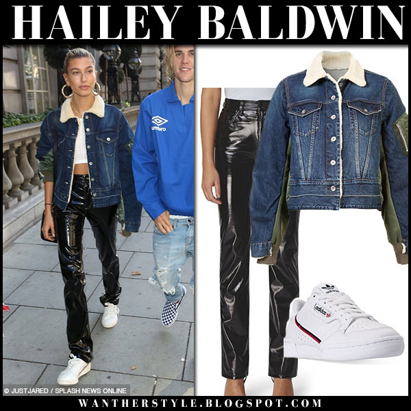 Hailey Baldwin in denim sacai bomber jacket and black patent pants fiorucci model street fashion september 17