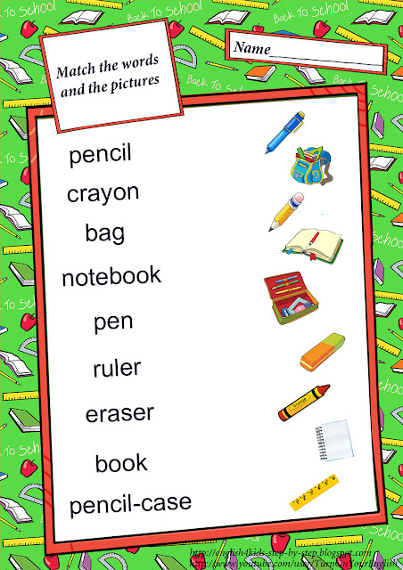 school vocabulary matching worksheet for primary school