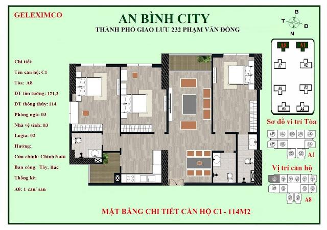 Mặt bằng căn C1 - C2 An Bình City