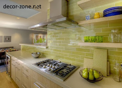 charming kitchen backsplash tile ideas in a light green clor