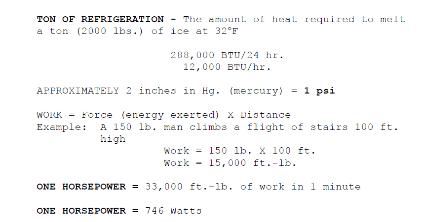 HowMechanismWorks ?: TOTAL HVAC FORMULA'S AND CONVERSIONS IN