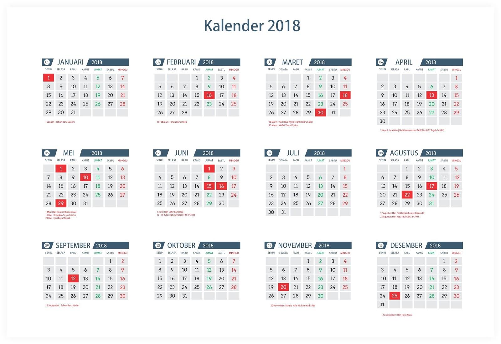 Download Desain Template Kalender Tahun 2018 - Asal Tau