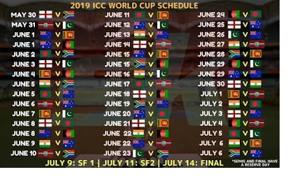 Icc world cup  schedule india time table pdf download