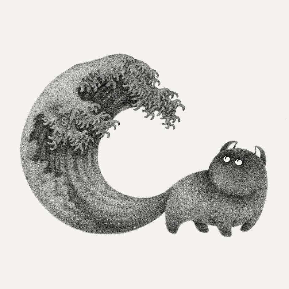 01-The-great-wave-off-Kanagawa-by-Hokusai-Kamwei-Fong-14-Furry-Cats-and-1-Furry-Monkey-Drawings-www-designstack-co