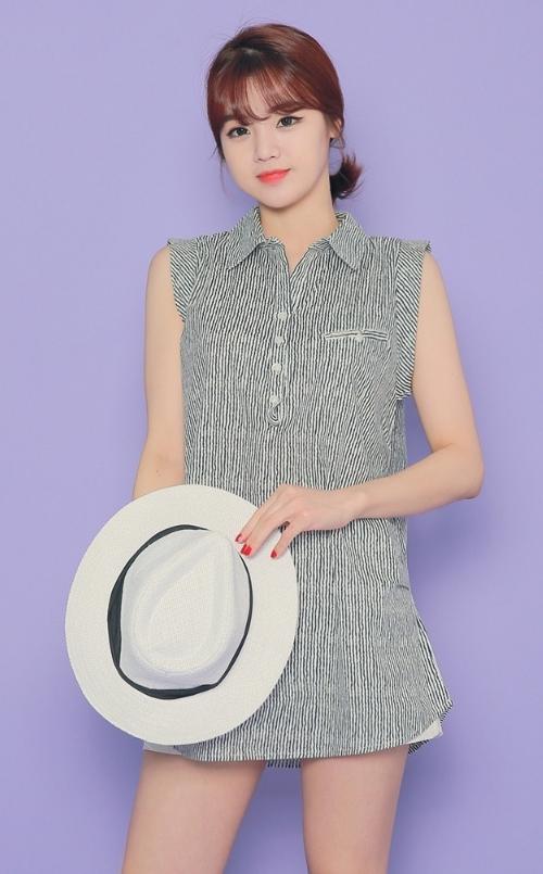 Striped Sleeveless Long Line Shirt