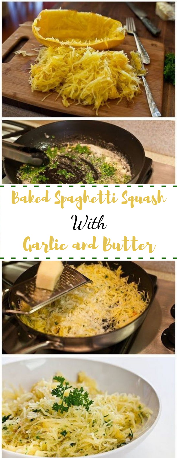 Baked Spaghetti Squash with Garlic and Butter #spaghetti #vegetarian