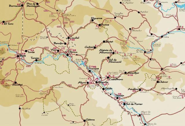 Mapa del Alto Palancia y Navajas.