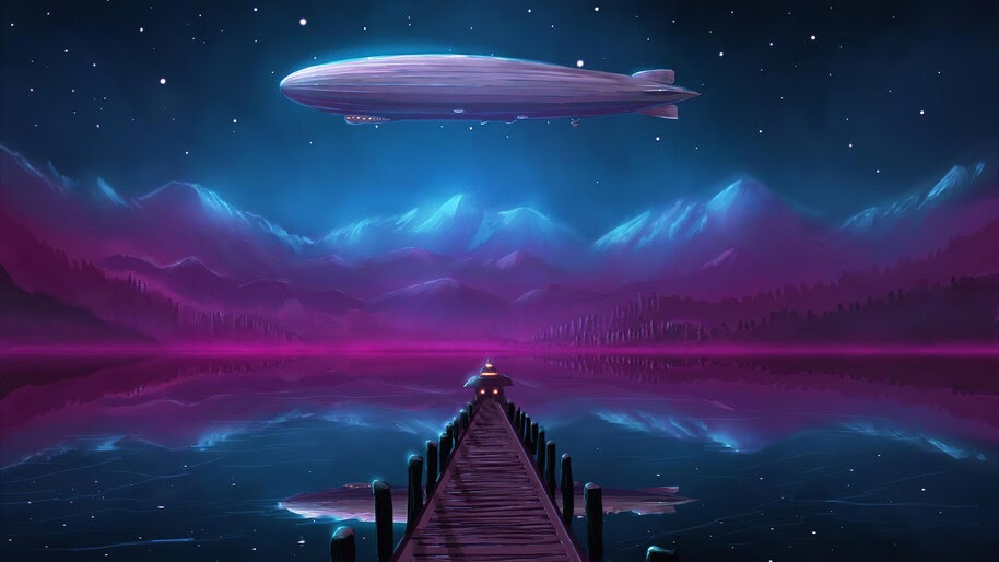 Zeppelin, Night, Lake, Scenery, Digital Art, 4K, #6.1050