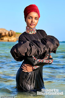 Muslim model Halima Aden makes history as the first woman to pose in a BURKINI for Sports Illustrated's iconic Swimsuit Issue