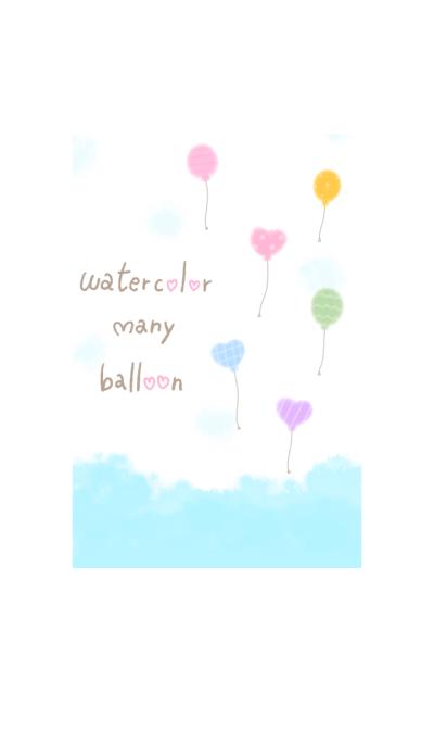watercolor many balloon