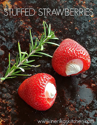 Ripe California strawberries stuffed with fresh goat cheese