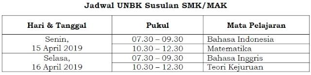 Jadwal UNBK SMK-MAK 2019 Susulan