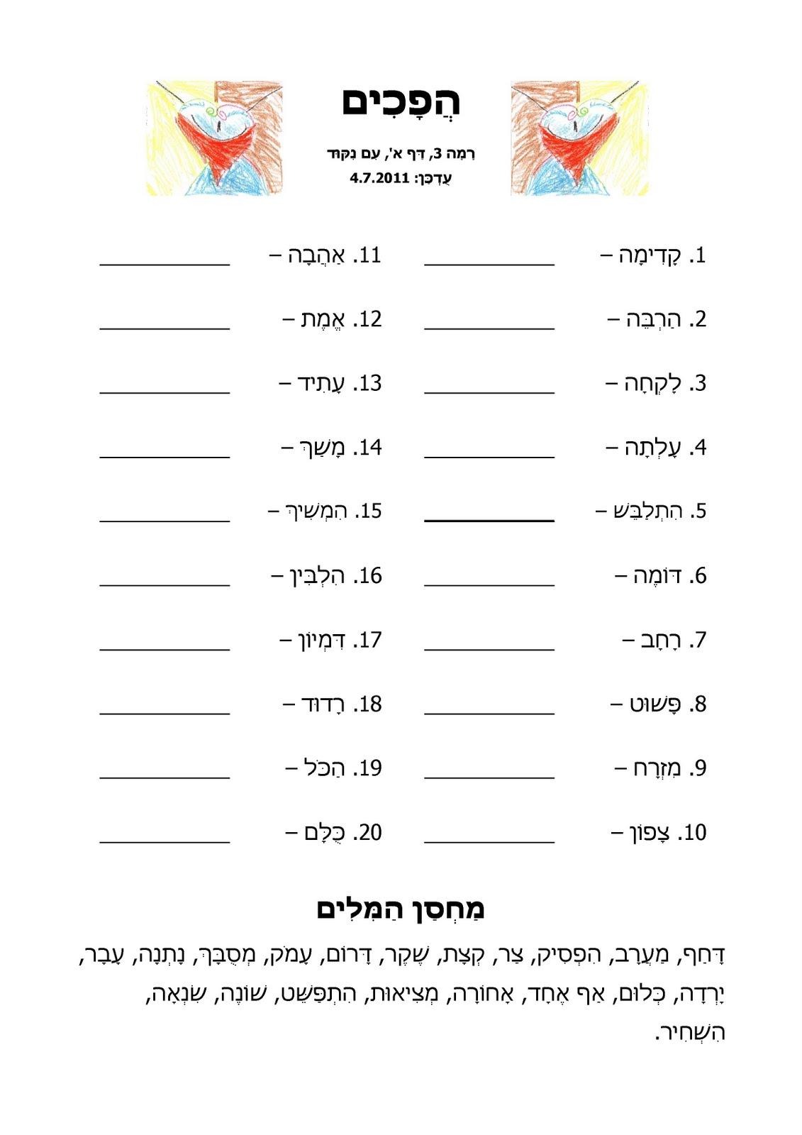 Level 3 Worksheet A With Niqqud