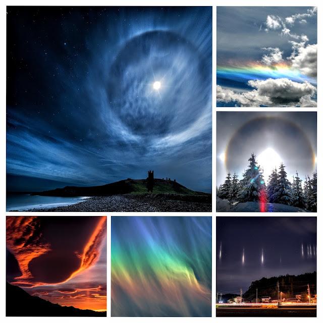 Strange and beautiful optical phenomena occurring in the sky. This phenomenon Sun and Moon halo , light pillars, aurora, winter rainbow