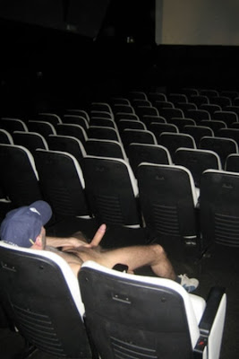 Gay public sex, naked man with big hard cock out in a theater, bate, jackoff, wank, exhib, Robot Jack