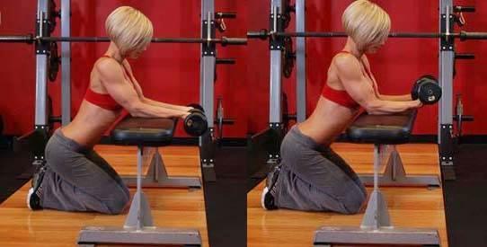 Flexión y extensión de antebrazos en pronación mujer