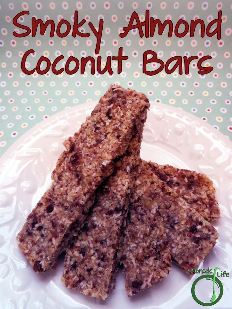 Morsels of Life - Smoky Almond Coconut Bars - Smoked almonds formed into a sweetly savory granola bar with coconut shreds and dried dates. You've got to try these smoky almond coconut bars!