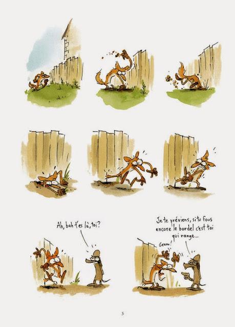 Viñetas mostrando una incursión desastrosa del zorro en el gallinero