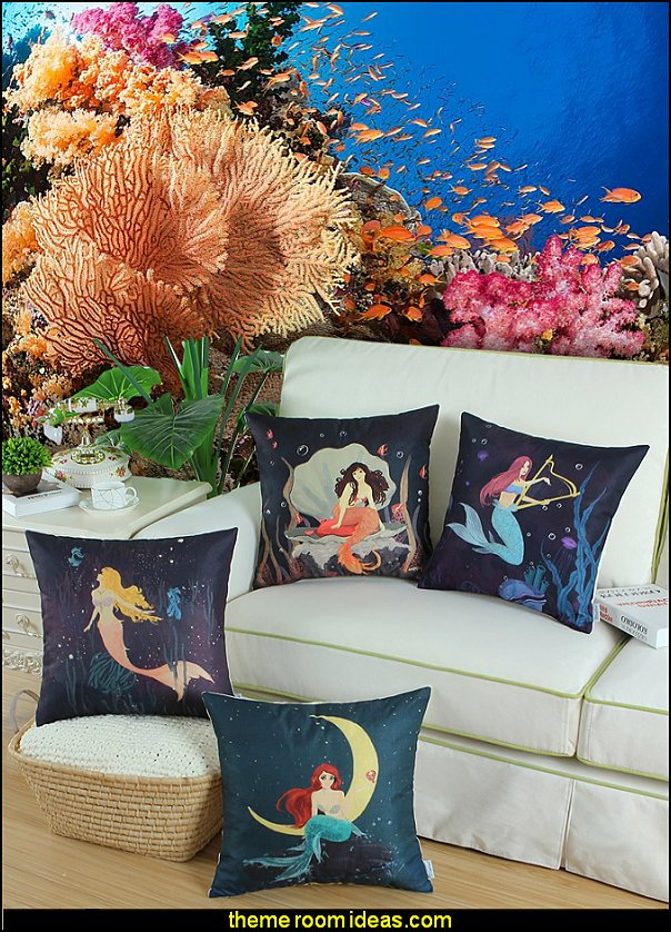 mermaid throw pillows coral wallpaper mural underwater theme bedroom decorating